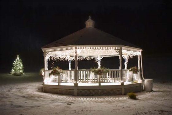 The Town Gazebo lit up for Christmas