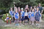 Girl Scout Troop getting ready for the Memorial Day Ceremony