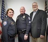 Chief Lougee, Sgt. Merrigan and Town Manager David Stack