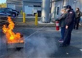 Janette Shuman participating in Fire Extinguisher training