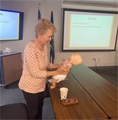 Lois Richards training on CPR