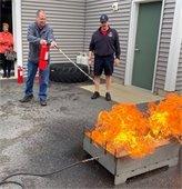 Myrton Fellows training on Fire Extinguisher