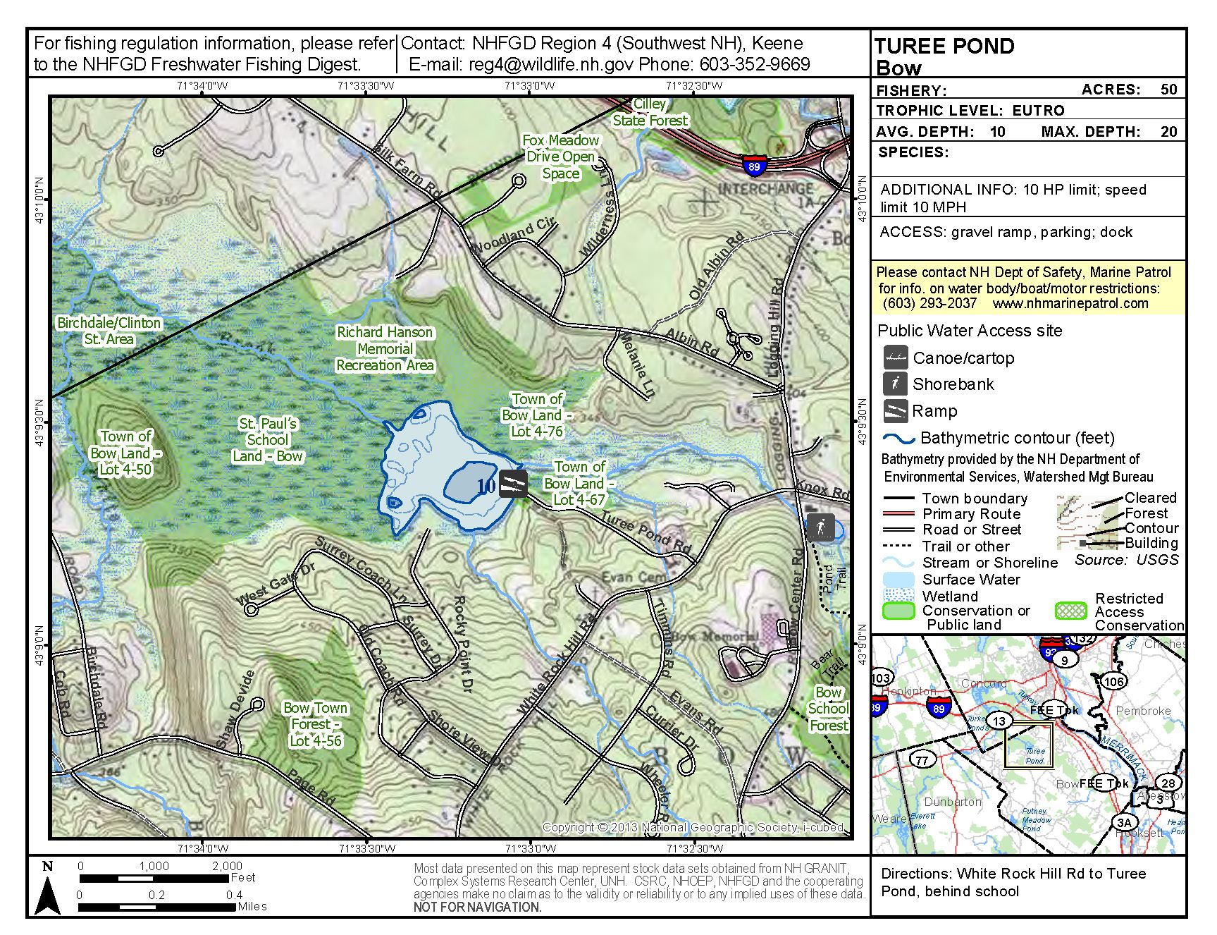 Turee Pond Map from NH Fish and Game