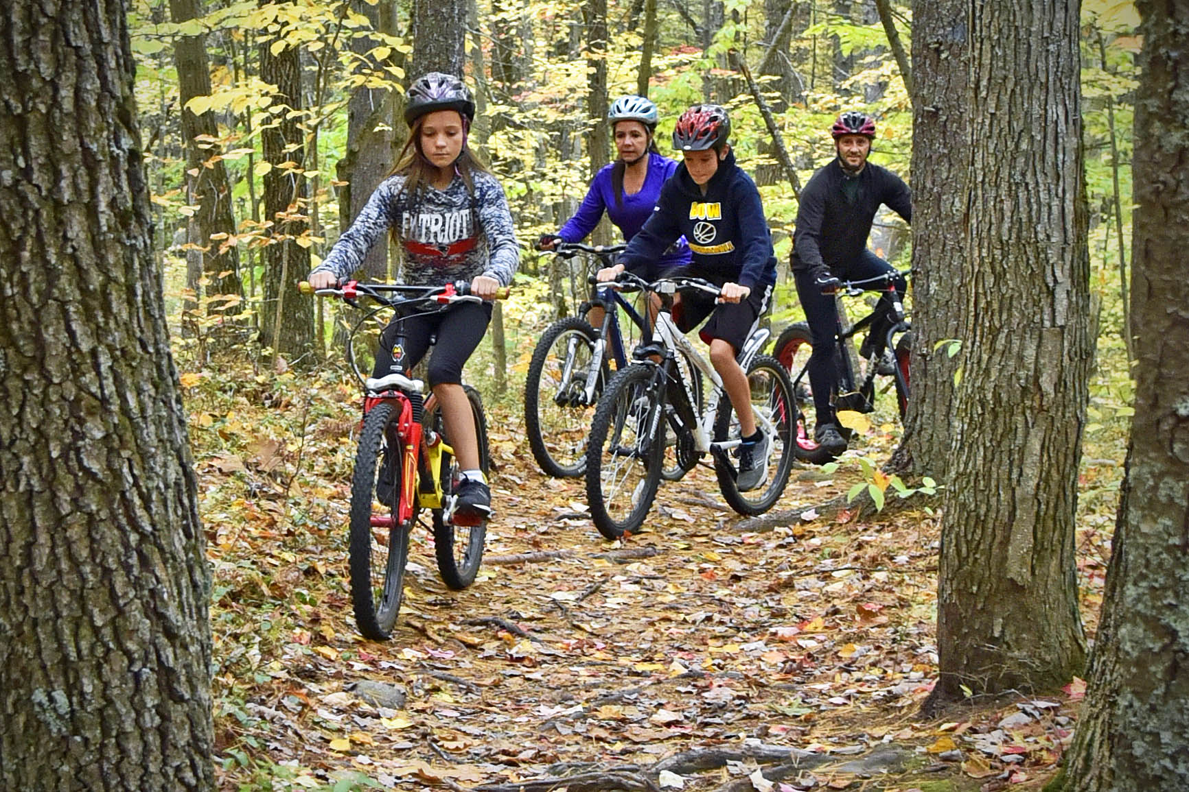 Family mountain biking on Bow trail